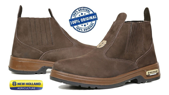 Botina New Holland Couro Nobuck Chocolate Enh 2201 Original