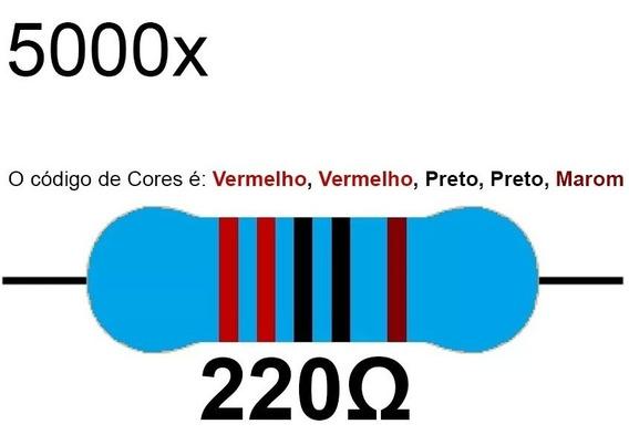 5000 Resistor 220 1/4w 1% Azul Led 5v 12v Arduino Raspberry