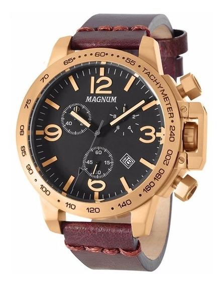 Relógio Magnum Couro Bronze Masculino Ma34147u