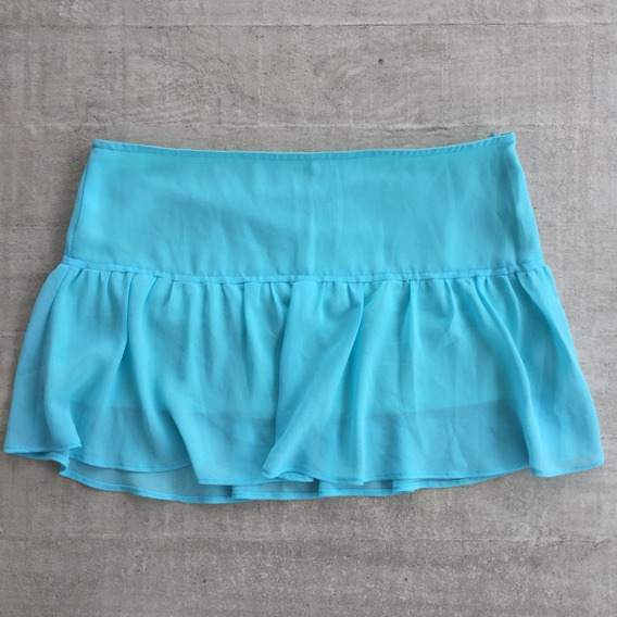 Mini Saia De Crepe Azul Claro Mercearia