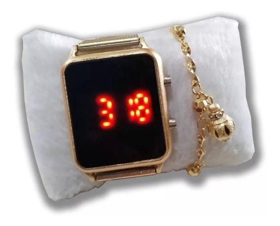 Kit 5 Relógios +caixa+ Pulseiras Folheados Atacado Revenda