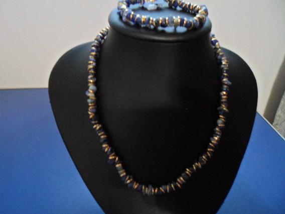 Conjunto Colar Cascalho De Lapis Azul 42cm E Pulseira Com E