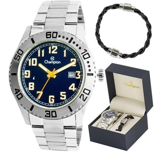 Relógio Champion Ca31506o Masculino Kit C/ Pulseira De Couro