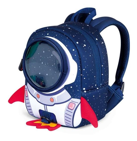 Mochila 3d Lonchera Escolar Para Niño Nave Espacial + Correa