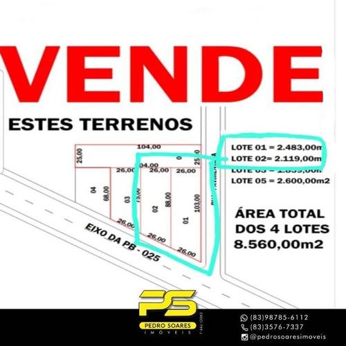 Imagem 1 de 3 de 2 Terreno À Venda, 4.600,00 M² Por R$ 180.000 - Pb-025 - Lucena/pb - Te0148