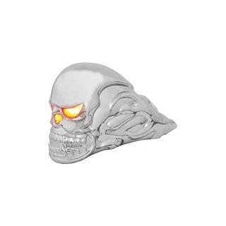Grand General 48370 Chrome Flamed Skull Hood Ornament