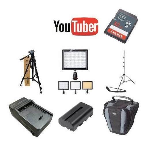 Kit Youtuber 32gb + 2 Tripés + Led160 + Carregador E Bateria