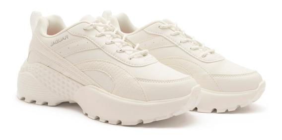 Zapatillas Moda Mujer Con Plataforma Blancas Sneakers 9043