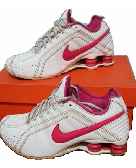 Tênis Nike Shox Junior - Branco E Rosa
