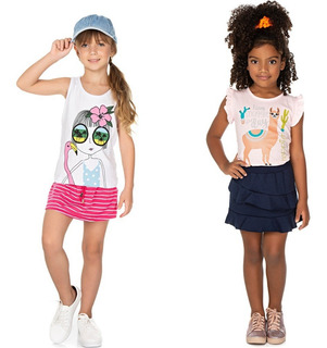 Roupa Infantil Menina Kit 2 Conjuntos Blusa E Saia Isensee