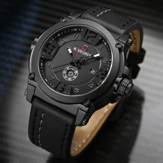 Relógio Masculino Naviforce Militar Esportivo Couro Nf9099