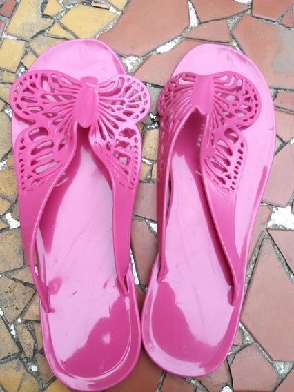 Sandália Borboleta - Rasteira De Plástico - Rosa Pink