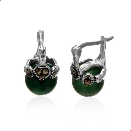 Brinco Jade Malasia Natural E Marcassitas, Prata 925 - 21908951