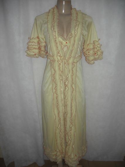 Penhoar E Camisola Amarela Tam 44 Antiga Retro Vintage