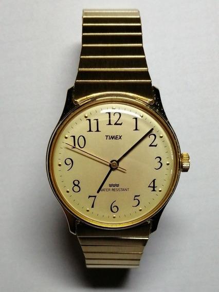 Relógio Timex Water Resistant Ouro Pulseira Elástica Corda