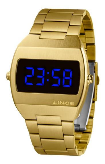 Relogio Lince Mdg4621l Dxkx Digital Dourado Led Azul