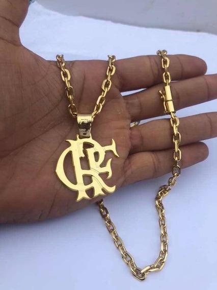 Cordão Banhado A Ouro Cadeado Pingente Crf Flamengo 70cm 4mm