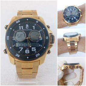 Relógio Masculino Atlantis G3216 Dourado Original 12x S/j