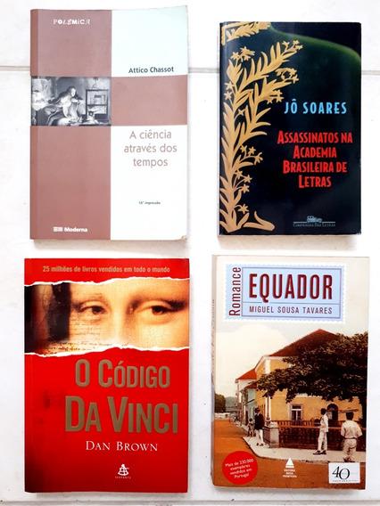 Lote 4 Livros: Código Da Vinci, Equador, Assassinato, Ciênc