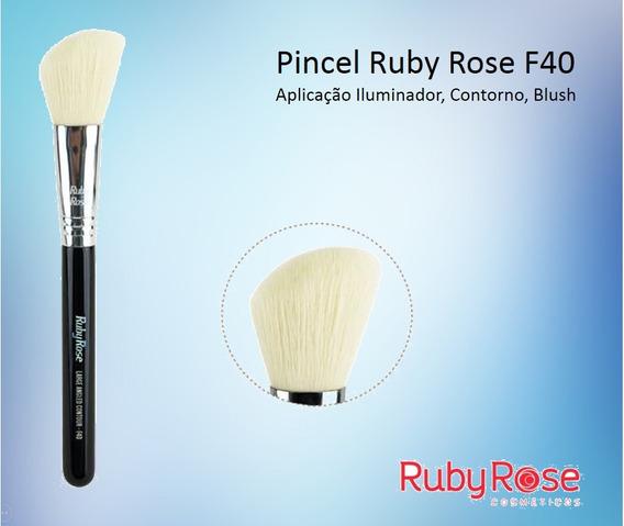 3 Pincel Ruby Rose Angled F40 Iluminador Contorno Blush