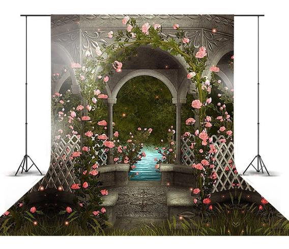 Fundo Fotográfico Flores Rosas Escadaria Newborn 3d 1,5x2,2