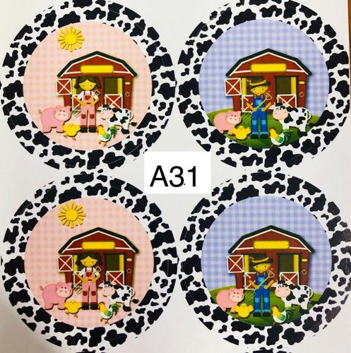 Imagem 1 de 9 de  50 Adesivos Lembrancinha Festa Tema Fazendinha Azul E Rosa