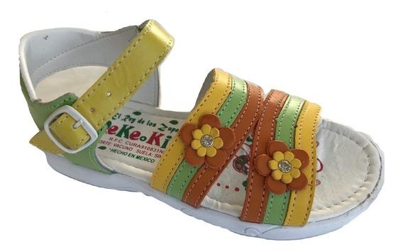 Huarache Infantil Niña Piel Blanco Peke Kids 510