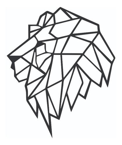 Quadro Leão Geometrico Mdf Preto Decoração - Novidade