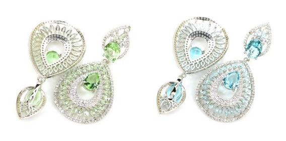 Brinco Feminino Grande Luxo Elegante Zircônia Prata 925