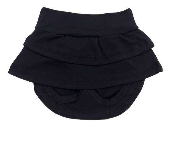 Saia Shorts Roupa De Bebê Preto Malha 100% Algodão