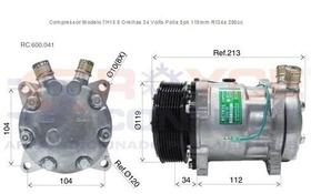 Compressor 7h15 24 Volts 8 Orelhas Polia 8pk Saida Em Cima