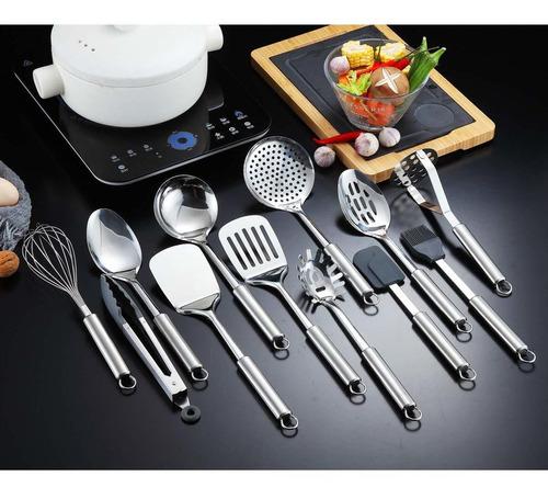 13 Piezas Acero inoxidable Cuchara de Cocina Utensilio de Cocina 12 Piezas con 1 Soporte Utensilios de Cocina Utensilio de Cocina con Soporte