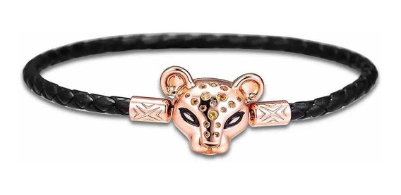 Bracelete Pandora Rose Cordão De Couro Coragem De Leoa