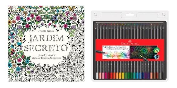 Kit Livro Jardim Secreto+ Lápis Com 24 Cores Supersoft Faber