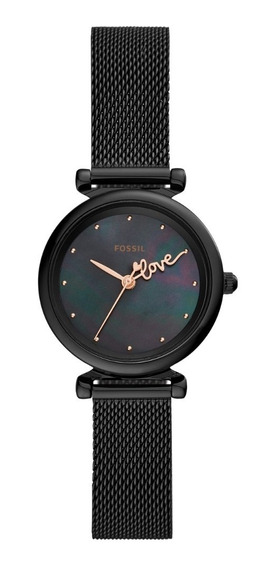 Reloj Dama Fossil Carlie Mini Es4829 Color Negro De Acero