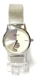 Reloj Elegante Bariho Malla Metálica Tablero Doble Col