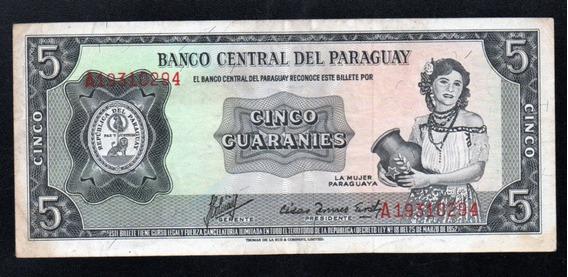Paraguay Billete 5 Guaranies Año 1952 P#195