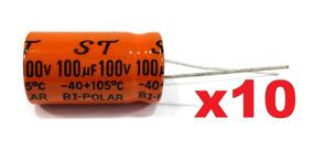 10 Capacitor Bipolar 100uf 100v 105°c