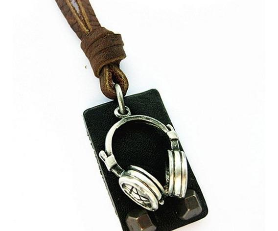 Colar Cordão Masculino Couro Legítimo Headphone - Frete Grát