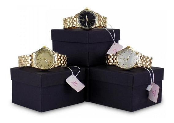 Kit 3 Relógio Dourado Feminino Inox