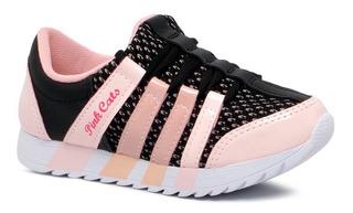 Tênis Pink Cats Meninas Casual V0355 Jogging - Preto/rosa