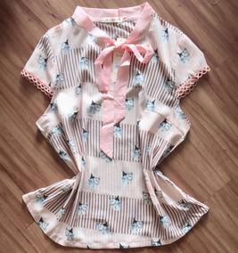 50822c7fd Camisa Feminina Manga Rasgada Rosa - Camisetas e Blusas no Mercado ...