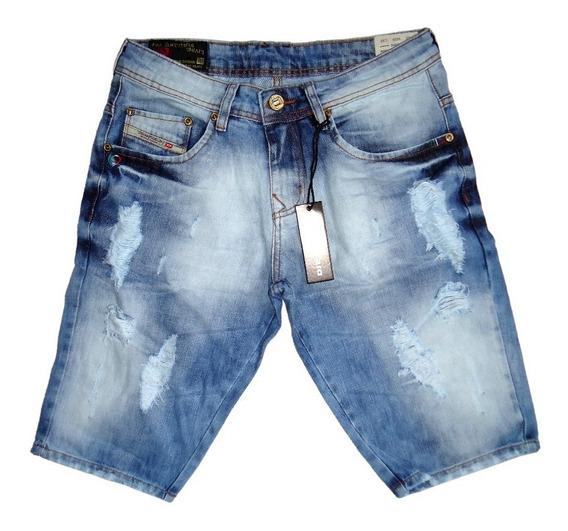 Bermuda Jeans Masculina Importada Original Destroyed