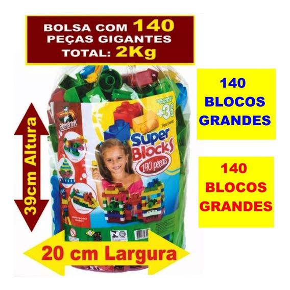 Bolsa Com 140 Blocos De Montar Gigantes - Pode Confiar