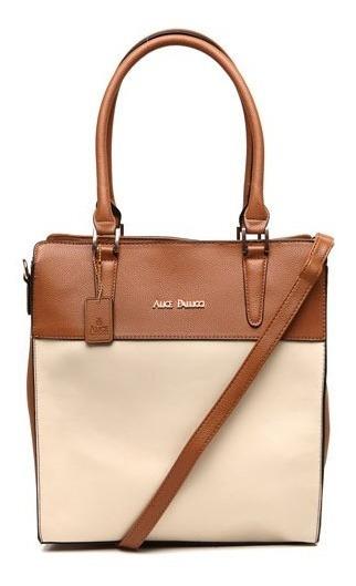 Bolsa Tote Bag Bicolor Alice Palucci Marrom/areia Al4805