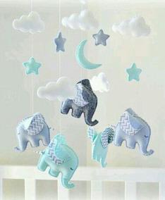 Mobile De Teto Elefantes Em Feltro