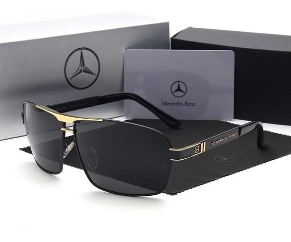 Óculos Mercedes Benz Golden Lentes Polarizadas Mb722 65