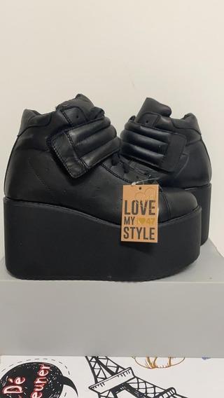 Zapatillas Con Plataforma 47 Street Negras Talle 39