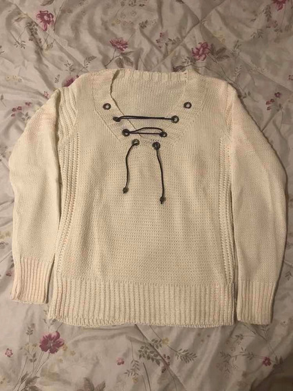 Suéter Blusa Lã Tricô Off White Com Amarração Tamanho P