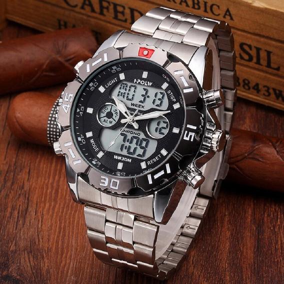 Relógio Masculino Hpolw Fsk1510 Est. Militar Robusto Ilumin. Led À Prova D